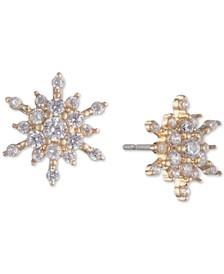 Gold-Tone Crystal Snowflake Stud Earrings