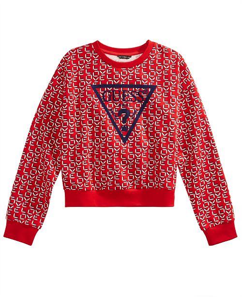 GUESS Big Girls Cotton Velvet-Logo Printed Sweatshirt