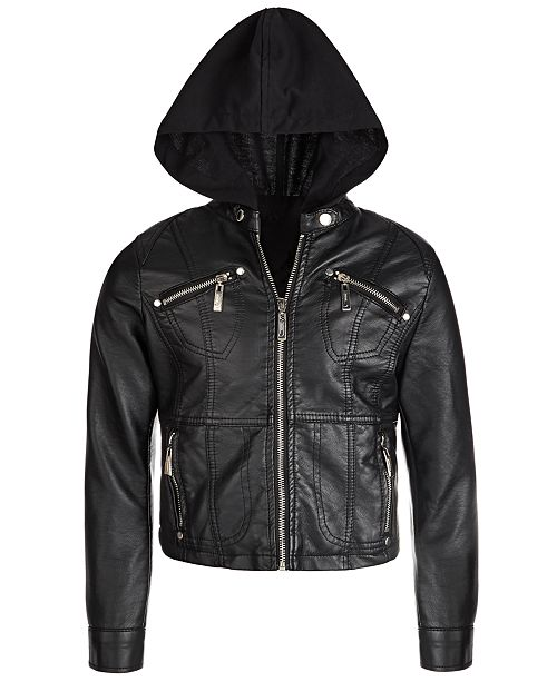 Jou Jou Big Girls Removable-Hood Moto Jacket