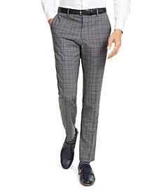 HUGO Hugo Boss Men's Slim-Fit Stretch Charcoal Plaid Suit Pants