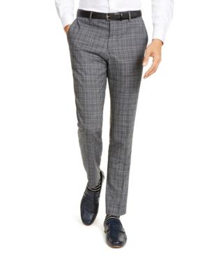 Hugo Men's Slim-Fit Stretch Charcoal Plaid Suit Pants