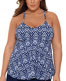 Plus Size Printed V-Neck Underwire Tankini Top, Created for Macy's