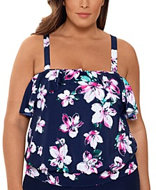 Plus Size Floral Printed Blouson Ruffled Tankini Top, Created for Macy's