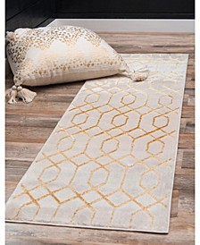 Glam Mmg001 White/Gold 2' x 10' Area Rug