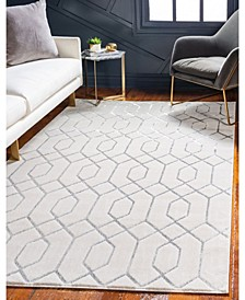 Glam Mmg001 White/Silver 5' x 8' Area Rug