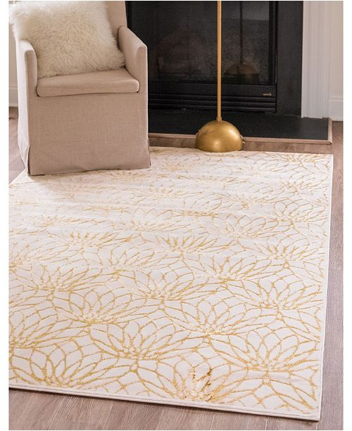 Marilyn Monroe Glam Mmg003 White/Gold 4' x 6' Area Rug