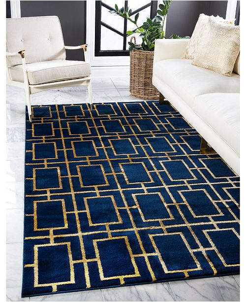 Marilyn Monroe Glam Mmg002 Navy Blue/Gold 8' x 10' Area Rug
