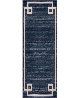 "Lenox Hill Uptown Jzu005 Navy Blue 2'2"" x 6' Runner Rug"