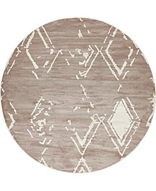 Carnegie Hill Uptown Jzu006 Light Brown 8' x 8' Round Rug