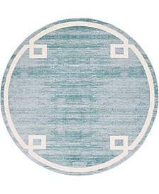 Lenox Hill Uptown Jzu005 Turquoise 8' x 8' Round Rug