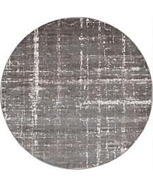 Lexington Avenue Uptown Jzu003 Gray 8' x 8' Round Rug
