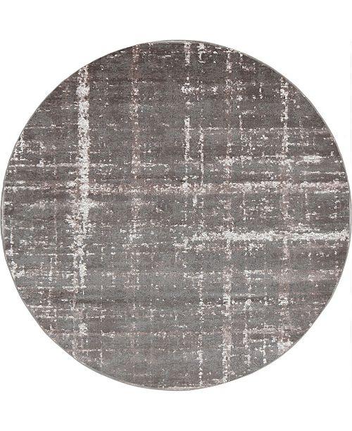 Jill Zarin Lexington Avenue Uptown Jzu003 Gray 8' x 8' Round Rug