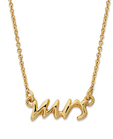 kate spade new york Necklace, 12k Gold-Plated Say Yes Mrs. Pendant Necklace