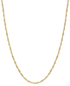 "18-30"" Singapore Chain Necklaces in 14k Gold"