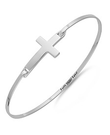 Unwritten Sterling Silver Sideways Cross Catch Bangle