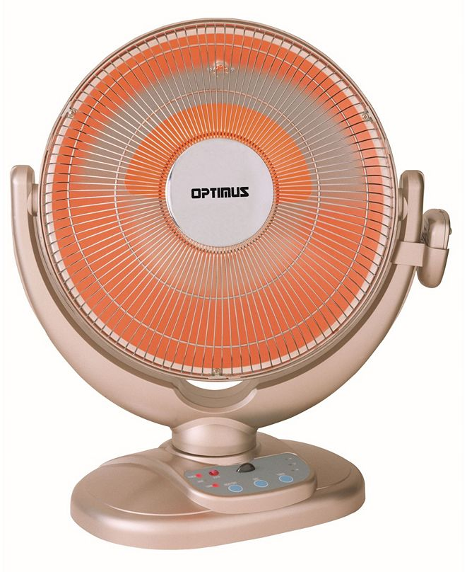 "Optimus H-4438 14"" Oscil Dish Heater with Remote Control and Overheat Thermostat Home"
