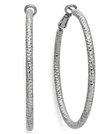 """Large 2"""" Textured Hoop Earrings"""
