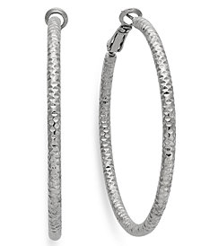 Thalia Sodi Silver-Tone Small Textured Hoop Earrings