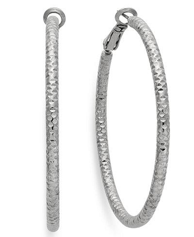 Thalia Sodi Silver-Tone Small Textured Hoop Earrings