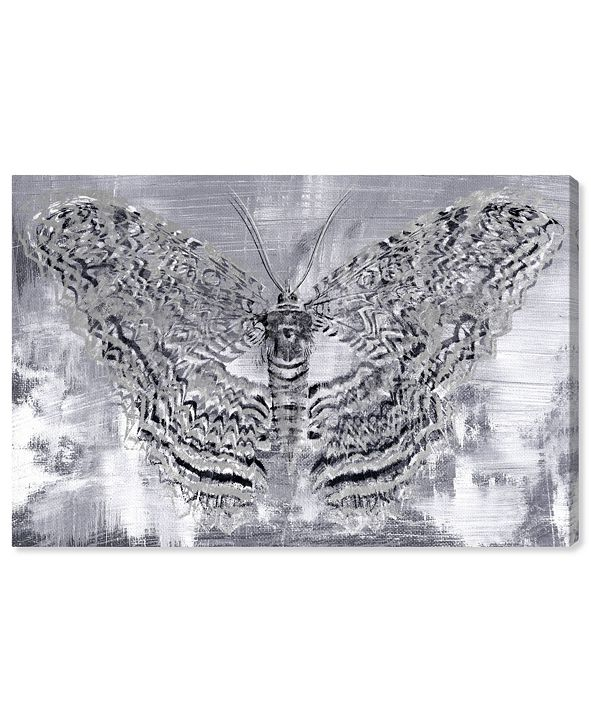 "Oliver Gal Silver Winged Butterfly Canvas Art, 36"" x 24"""