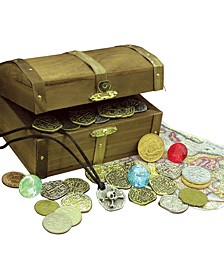 Kid's Treasure Chest with Replica Pirate Coins, Foreign Coins, Gems and Necklace Coin Jewelry
