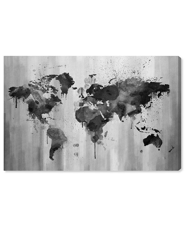 "Oliver Gal Mapamundi Black and White Canvas Art, 15"" x 10"""