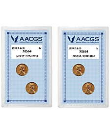 1958 Lincoln Wheat Pennies P D Graded MS64 + 1959 Lincoln Memorial Pennies P D Graded MS64