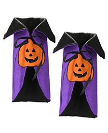 Wine Bottle Halloween Pumpkin Cape Cover - Set of 2