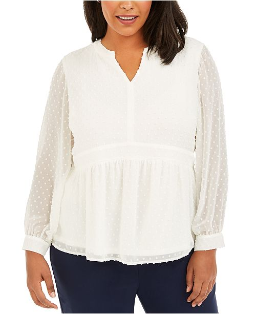 Charter Club Plus Size Clip-Dot Blouse, Created for Macy's