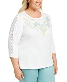 Plus Size Cottage Charm Crochet-Trim Top