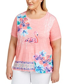 Plus Size Miami Beach Printed Embellished Top