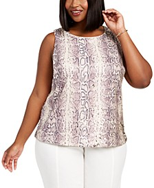 INC Plus Size Flippy-Sequin Snake-Embossed Top, Created For Macy's