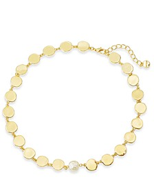 "Gold-Tone Disc & Imitation Pearl Collar Necklace, 17"" + 2"" extender, Created For Macy's"