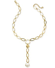 "Disc & Imitation Pearl Link Lariat Necklace, 25-1/2"" + 2"" extender, Created For Macy's"