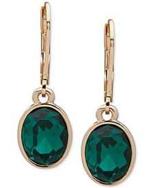Gold-Tone Single Stone Drop Earrings