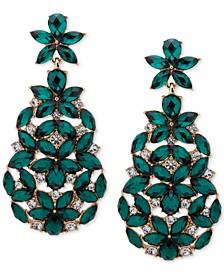 Gold-Tone Crystal & Stone Flower Chandelier Earrings