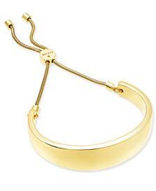 Gold-Tone Wide Curved Bar Slider Bracelet, Created for Macy's