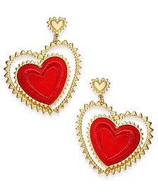Gold-Tone Tilted Fabric Heart Drop Earrings, Created for Macy's