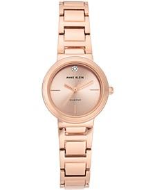 Women's Diamond-Accent Rose Gold-Tone Bracelet Watch 26mm