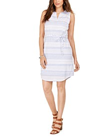 Cotton Striped Split-Neck Sleeveless Dress, Created For Macy's