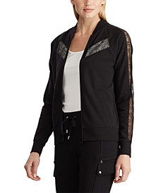 Petite Lace-Trim Fleece Jacket