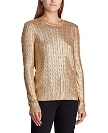 Petite Metallic Cable-Knit Sweater