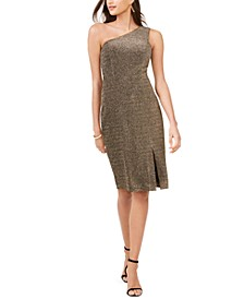 One-Shoulder Glitter-Knit Dress