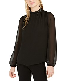 Shirred-Neck Sheer-Sleeve Top, Created For Macy's