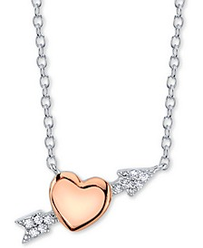 Cubic Zirconia Heart & Arrow Pendant Necklace in Sterling Silver & Rose Gold-Plate
