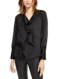INC Tie-Neck Satin Blouse, Created for Macy's