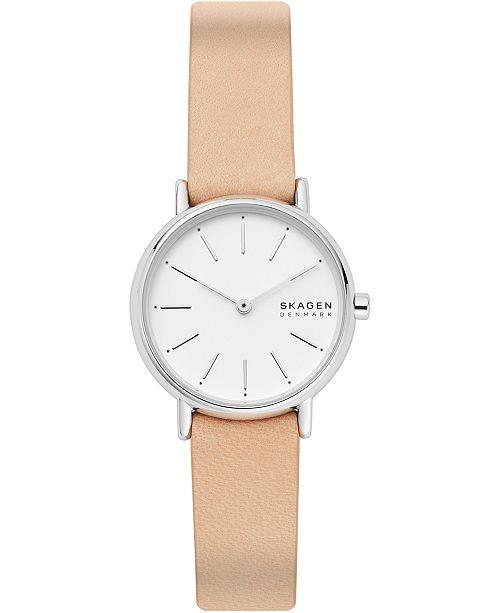 Skagen Women's Signatur Pink Leather Strap Watch 30mm