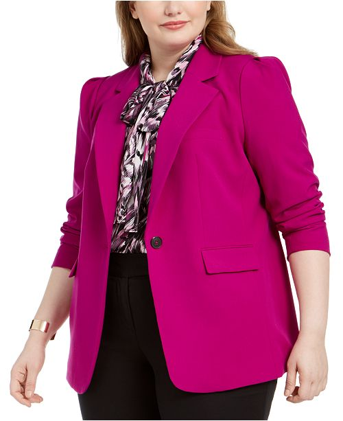 Bar III Trendy Plus Size One-Button Blazer, Created for Macy's
