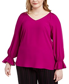 Trendy Plus Size Bell-Cuff Top, Created For Macy's