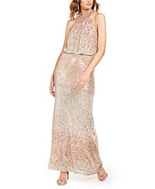 Allover-Sequin Halter Gown